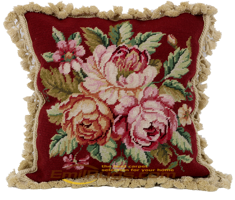 elegant needlepoint sofa cushion cover Decorative  woolen aubusson Handmade -rose And Bud Rectangle Cover Simple