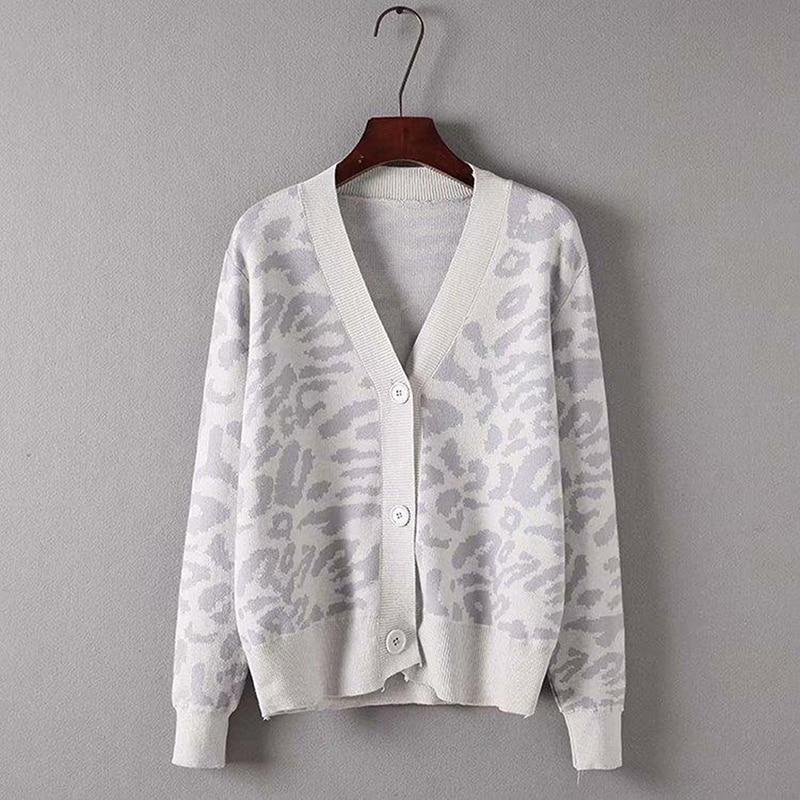 Корейская версия, женский кардиган, пальто, Леопардовый вязаный женский свитер, осенняя одежда, женский свободный кардиган, пальто