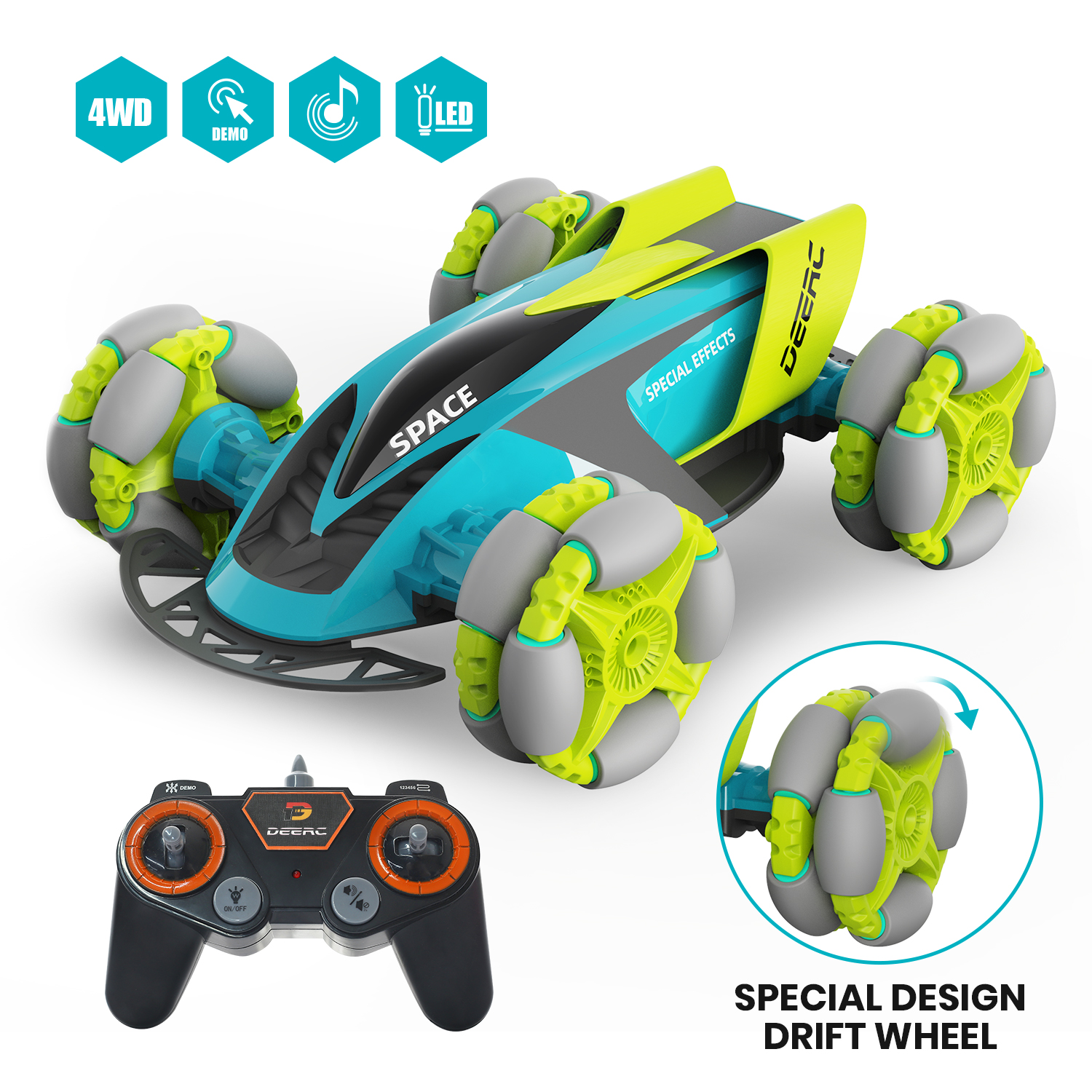 Remote Control Car for Kids - Music Light Up RC Car Double Sided Fast Off-Road Stunt RC Toy Car, 360 Flips and Spins, All Terrai