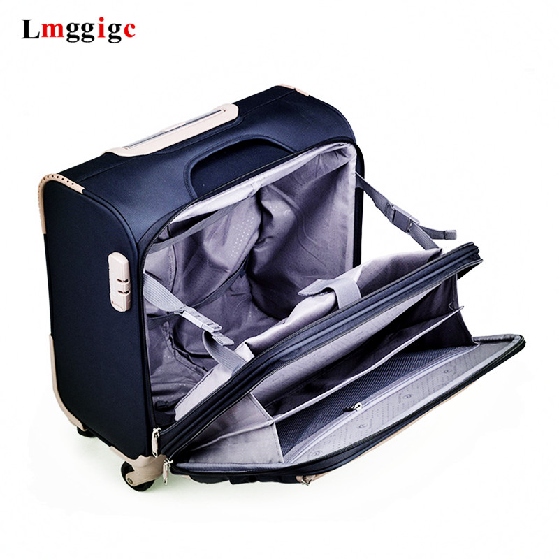 Multi Layer Travel Suitcase 18 Inch Cabin Luggage Laptop Bag Polyester Cloth Box Rolling Trolley Case Rolling Luggage Aliexpress
