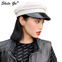 Genuine Leather Visor Highstreet Solid Sheepskin Visor Military Hat Autumn Winter Vintage Beret Cap Women England Style Flat Cap