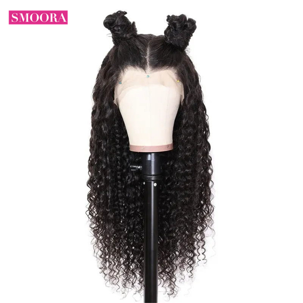 Deep Wave Lace Front  Wigs 13X1 Middle Part Lace Wig Pre Plucked With Baby Hair 150% Density 10-30Inch 3