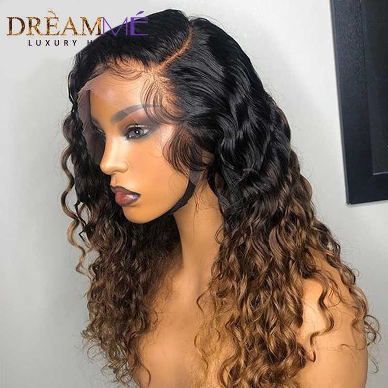 13X4 Ombre Krullend Lace Front Pruik Remy Braziliaanse Kant Frontale Pruik Pre Geplukt Lijmloze Blonde Gekleurde Kant Pruik 150% Dichtheid