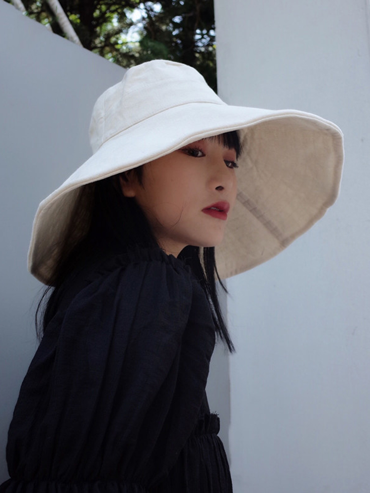 Foldable EAM Fishermen-Hat Round Fashion Women Summer New White Solid Dome Tide JF869