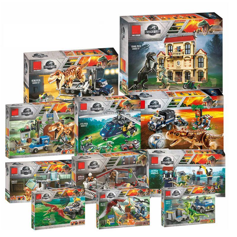 Legoinglys Jurassic World Tyrannosaurus Rex T. Rex Transport Triceratops Building Blocks Bricks Toys Christmas Gift 73934 Block