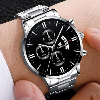 2019 Men luxury business Military Quartz watch golden stainless steel band men watches Date calendar male clock Relogio direct 1