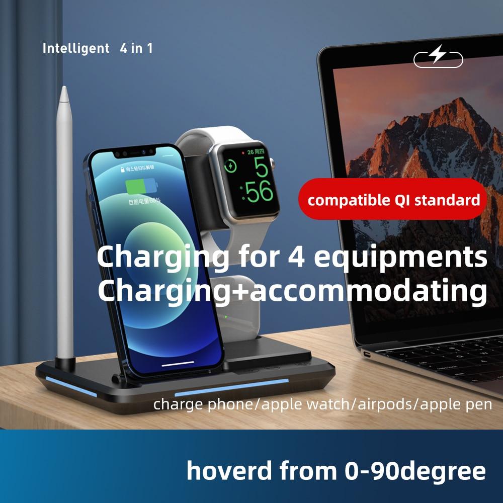Schnelle Qi Standard Intelligente 4 in 1 Multi Mob Uhr Kopfhörer Apple Stift Lade Zusammen Smart Wireless One-Stop ladung Dock
