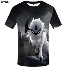 KYKU Wolf T shirt Men Animal Tshirt Printed Punk T-shirts 3d Black Shirt Print Cartoon Tshirts Casual Short Sleeve shirts