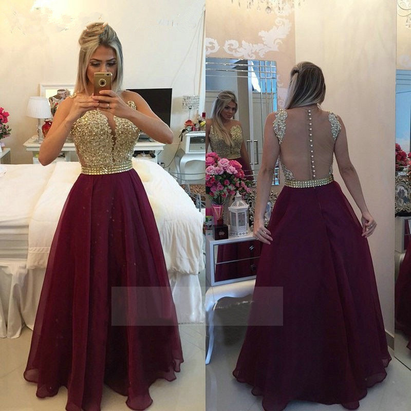 Vestido De Graduacion 2018 Sheer Floor Length Gold Lace Applique Crystal Organza Burgundy Prom Gown Mother Of The Bride Dresses