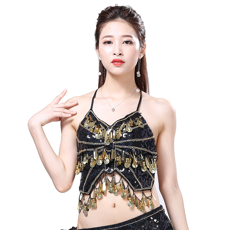 Women Belly Dance Wear Sleeveless Halter Costume Accessories Mesh Sequin Coins Top Bra With Paillettes