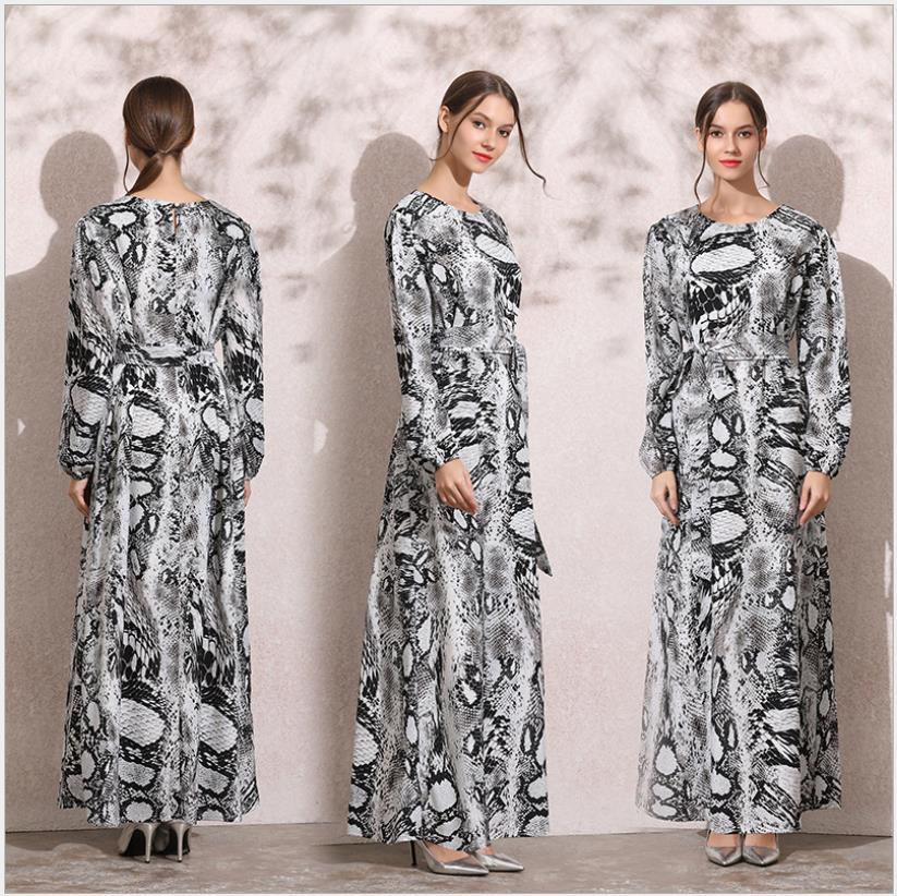 2091 femmes longue robe arabe musulmane imprimé serpent col rond à manches longues vêtements islamiques grande taille caftan dubaï Maxi robes décontracté
