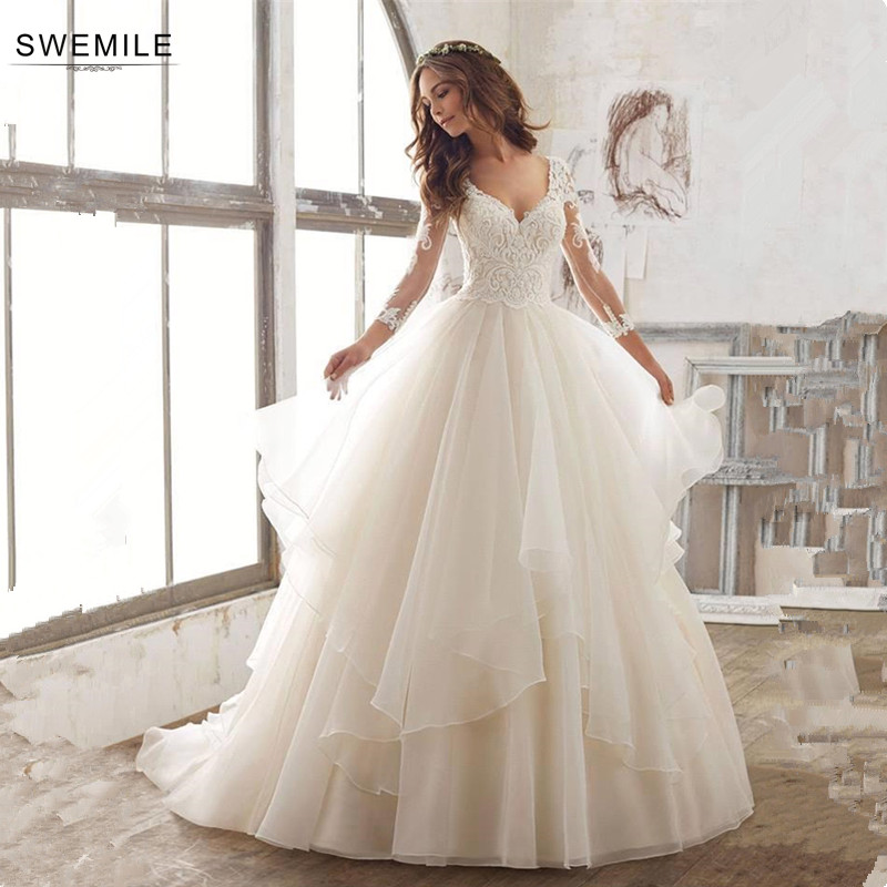 SWEMILE Ball Gown Lace Tiered Wedding Dresses 2019 Robe De Mariee 3/4 Sleeve Bride Dress Sexy Wedding Gowns Vestido De Noiva