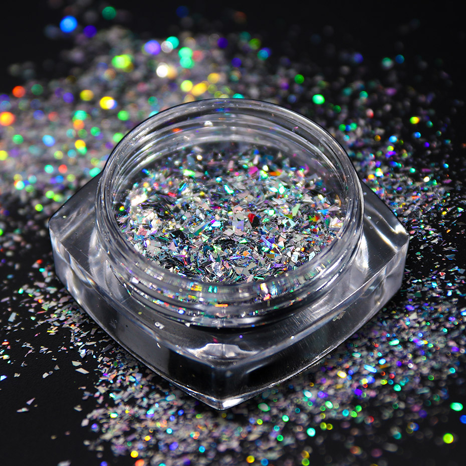 Image 4 - 8pcs Laser Sequins for Nails Silver Glitter Chrome Pigment Holo Rainbow Paillette Flakes Mirror Powder Nail Art Dust JI1506 13-in Nail Glitter from Beauty & Health
