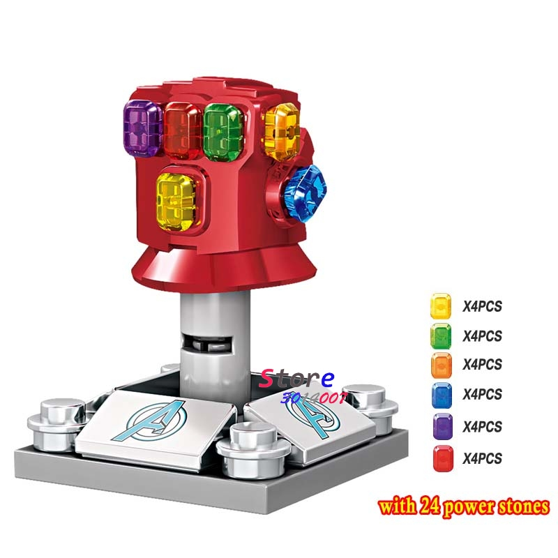 Single Avengers Endgame Marvel Thanos Infinity Gauntlet SY1099-2 With 24pcs Gemstones Iron Man Building Blocks Kids Toys
