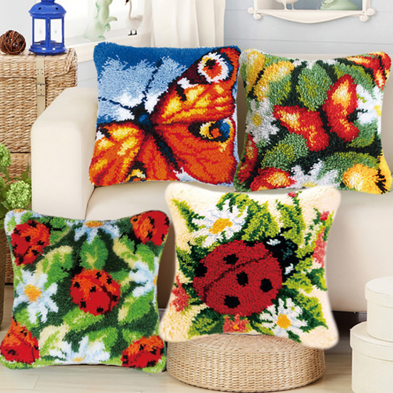 SM SunniMix DIY Latch Hook Rug Kits Needlework Gift 20 by 14 Inch Unfinished Pillow Mat Cushion Cat