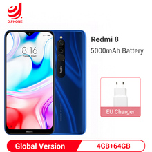 Global Version Xiaomi Redmi 8 4GB 64GB Smartphone Snapdragon 439 Octa Core 12MP Dual Camera 5000mAh Battery Cellphone