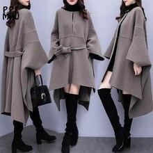 Большой размер, женский плащ, шерстяное пальто, Осень-зима, новое популярное шерстяное пальто, женское корейское Свободное длинное пальто высокого качества, 3XL