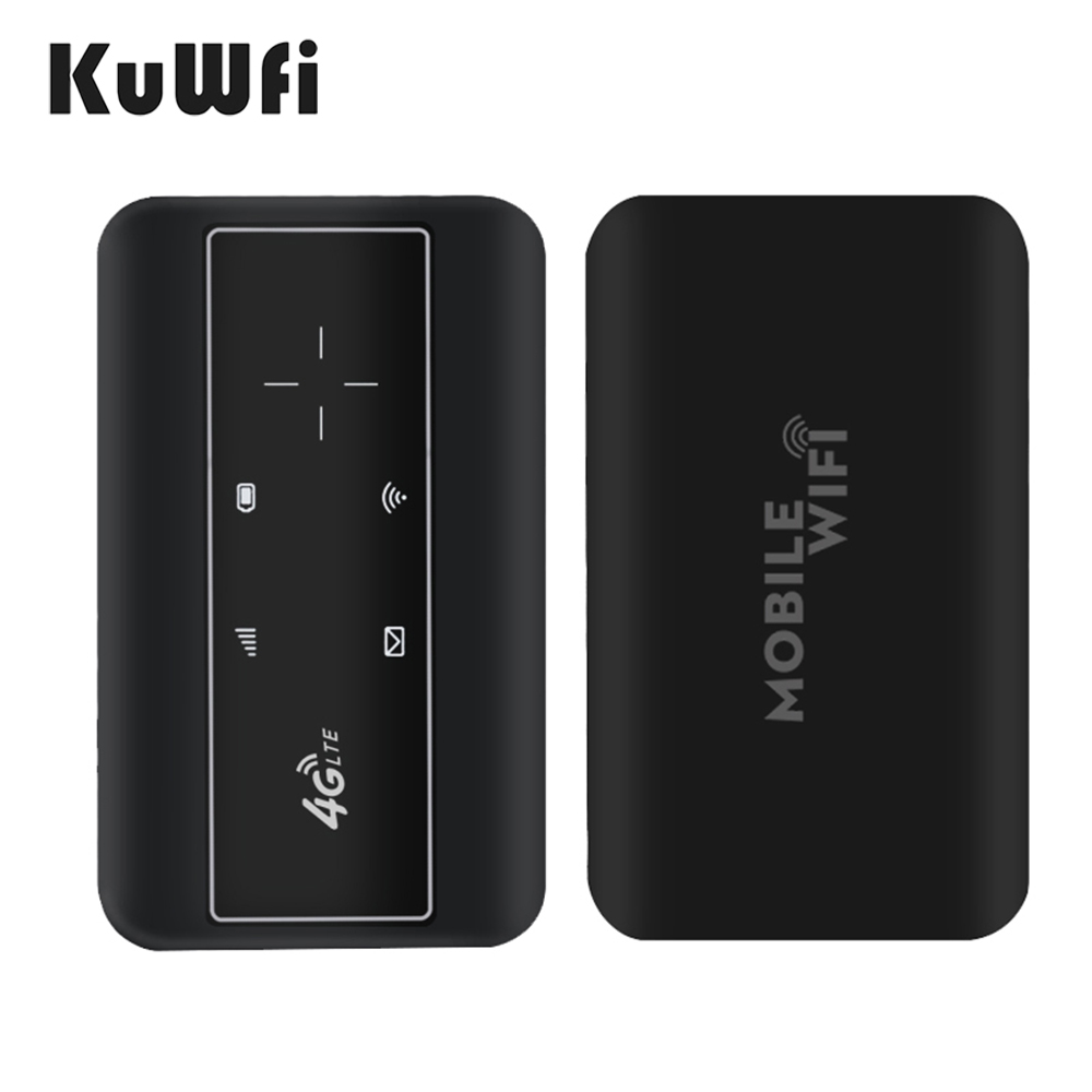 KuWFI Portable 4G LTE Router 3G/4G Wifi SIM Router Modem Pocket Wi-fi Mobile Hotspot Car Wi-fi Router With Sim Card Slot 6
