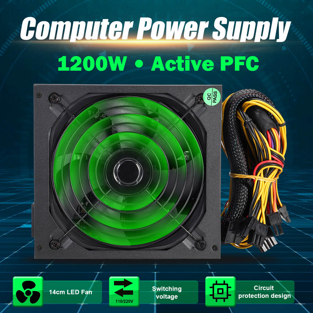 1200W PFC PC alimentation 140mm ventilateur LED silencieux 24 broches PCI PSU SATA 6Pin 4Pin ATX 12V ordinateur alimentation