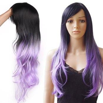 Snoilite объемная волна Омбре парик фиолетовый с челкой длинный Синтетический Косплей парик коричневый блонд серый красный розовый женский парик натуральные волосы