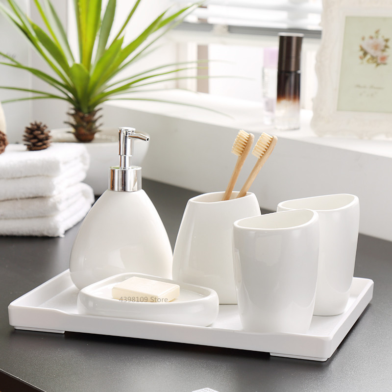 White ceramic bathroom accessories Nordic bathroom set toothbrush holder soap dispenser soap box bathroom decoration accessories image