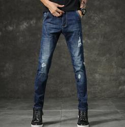 Новый дизайн популярные мужские модные синие джинсы мужские повседневные тонкие Стрейчевые длинные брюки