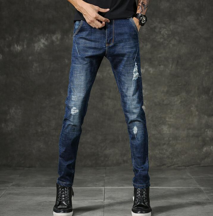 New Design Popular Mens Fashion Blue Jeans Men Casual Slim Stretch Long Pants