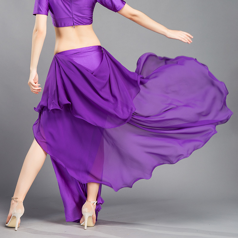 Image 5 - New Performance belly dance Costume Waves Skirt Dress slit Skirt Dress Carnival Colour 6Belly Dancing   -