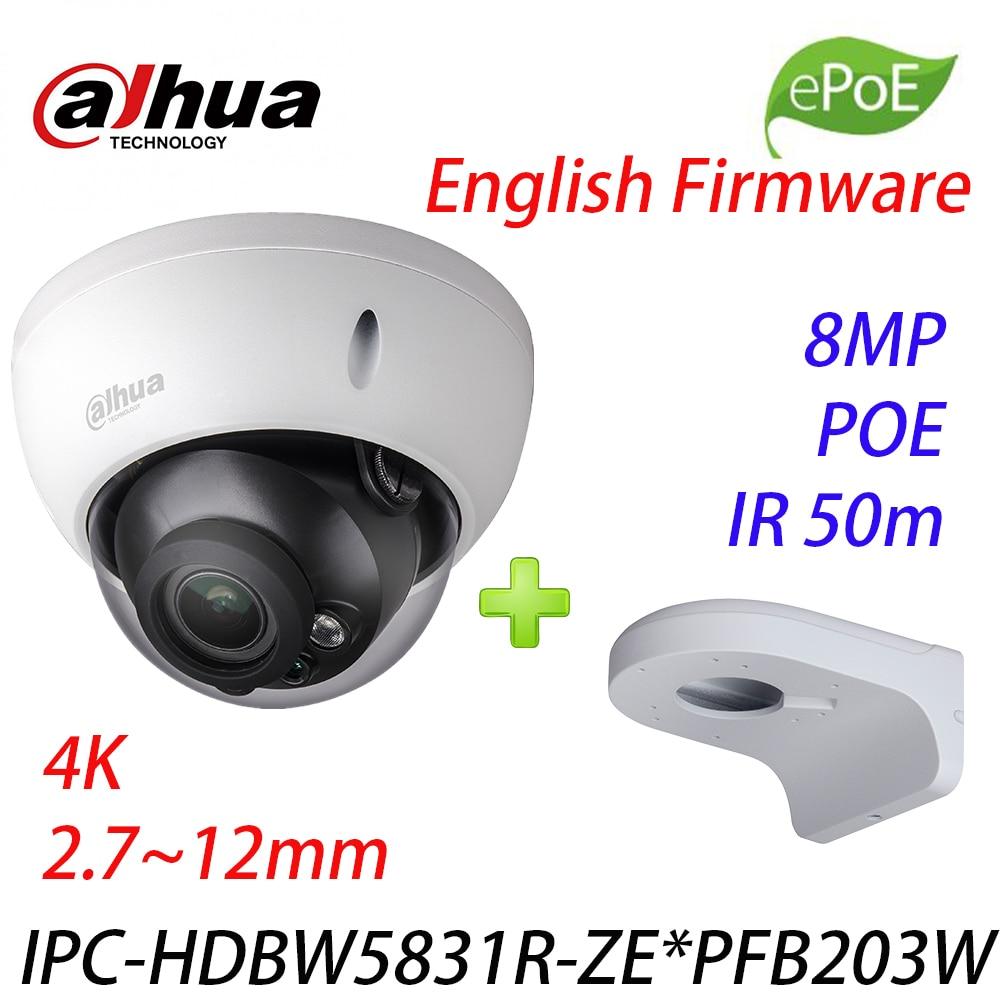 Dahua IPC HDBW5831R ZE 4K 8MP POE 2.7~12mm motorized IR50m IP67 1K10 SD security camera IPC HDW5831R ZE and Wall mount PFB203W|Surveillance Cameras| |  - title=
