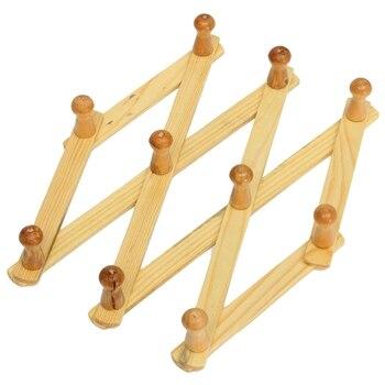 Acordeón colgador de pared 10 Paquete de ganchos de 2 soportes de pared de madera Natural acordeón expandible Peg perchero 2 paquetes