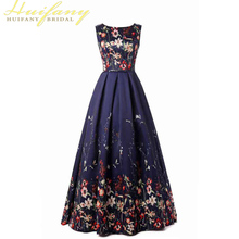 Floral Print A-Line Formal Evening Dresses O-neck Lace-up Blue Long Gown Elegant Flower Sleeveless Dress Woman long pageant dresses for girls glitz blue a line o neck lace up patchwork sleeveless formal mother daughter dresses for party