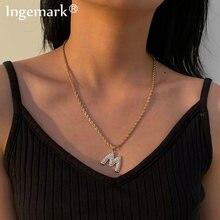 Роскошное сексуальное хрустальное ожерелье m/a/n с буквенным