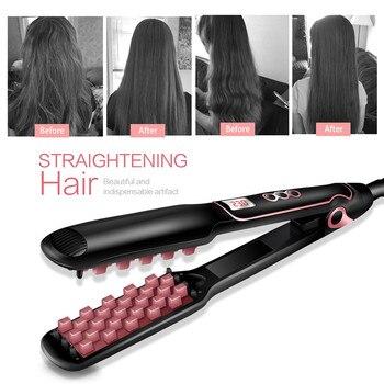 Plancha de pelo Popular de hierro plano plancha de pelo esponjosa plancha de pelo de cerámica PTC plancha de pelo caliente para pelo corto
