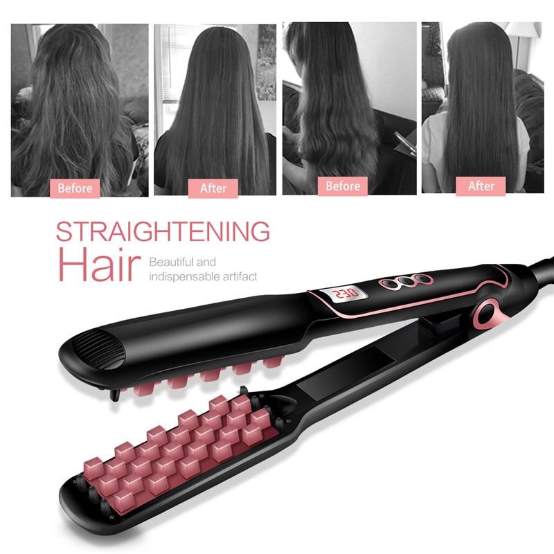 Popular flat iron hair straightener hair fluffy volumizing hair iron ceramic PTC heating hair straightener for long hair short