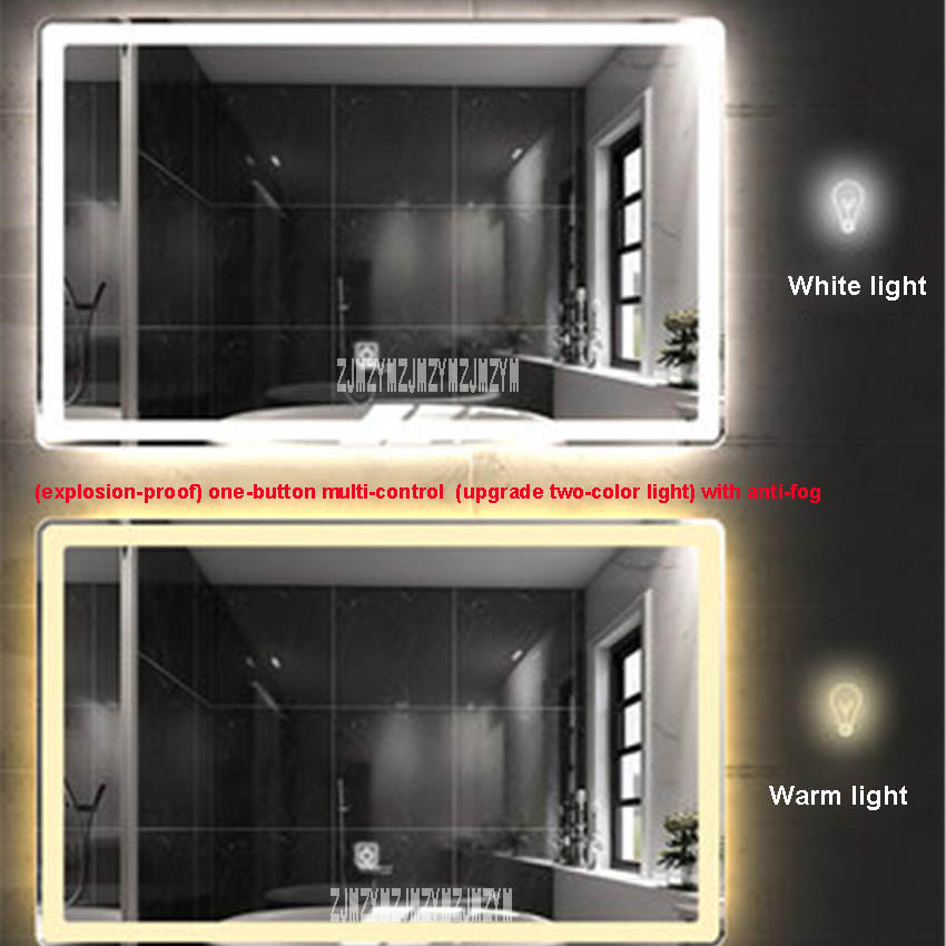 Antifog LED Light Mirror Bathroom Hung Makeup Touch Sensor Control Round Corner