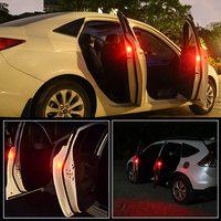 2 uds Universal coche inalámbrico puerta luz de advertencia LED... estroboscópica Anti-colisión señal LED lámparas de seguridad (rojo)
