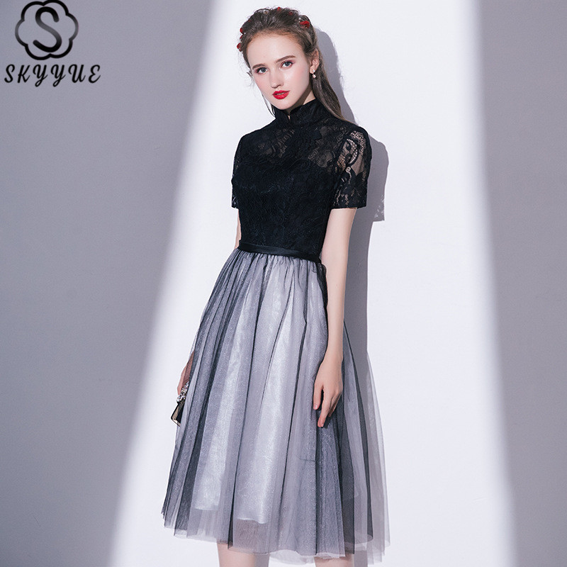 Skyyue High Collar Short Sleeve Cocktail Dress A-Line Embroidery Vestido De Coctel 2018 Lace Robe Cocktail Gown LX410