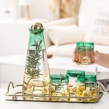 Garrafa de água de vidro conjunto de suco jarro copo conjunto transparente gradiente vidro jarras de água fria chaleira copos de chá casa jarro de água drinkware
