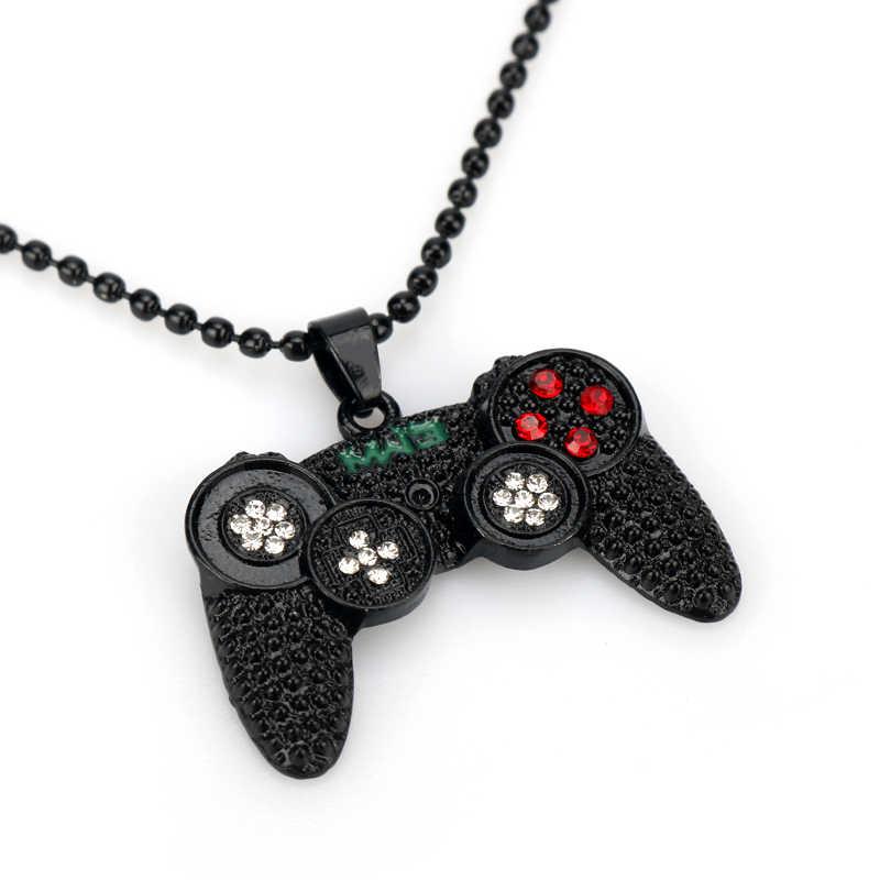 Hip Hop Iced Out gra rączka kontrolera naszyjnik dla kobiet mężczyzn Crystal Rhinestone automat do gier Gamepad brelok brelok