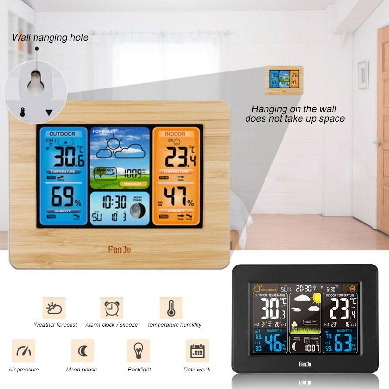 TS-3310 Thermometer Clock Backlight Indoor Humidity Multifunction Wireless Weather Station Digital Alarm Clock Livingroom