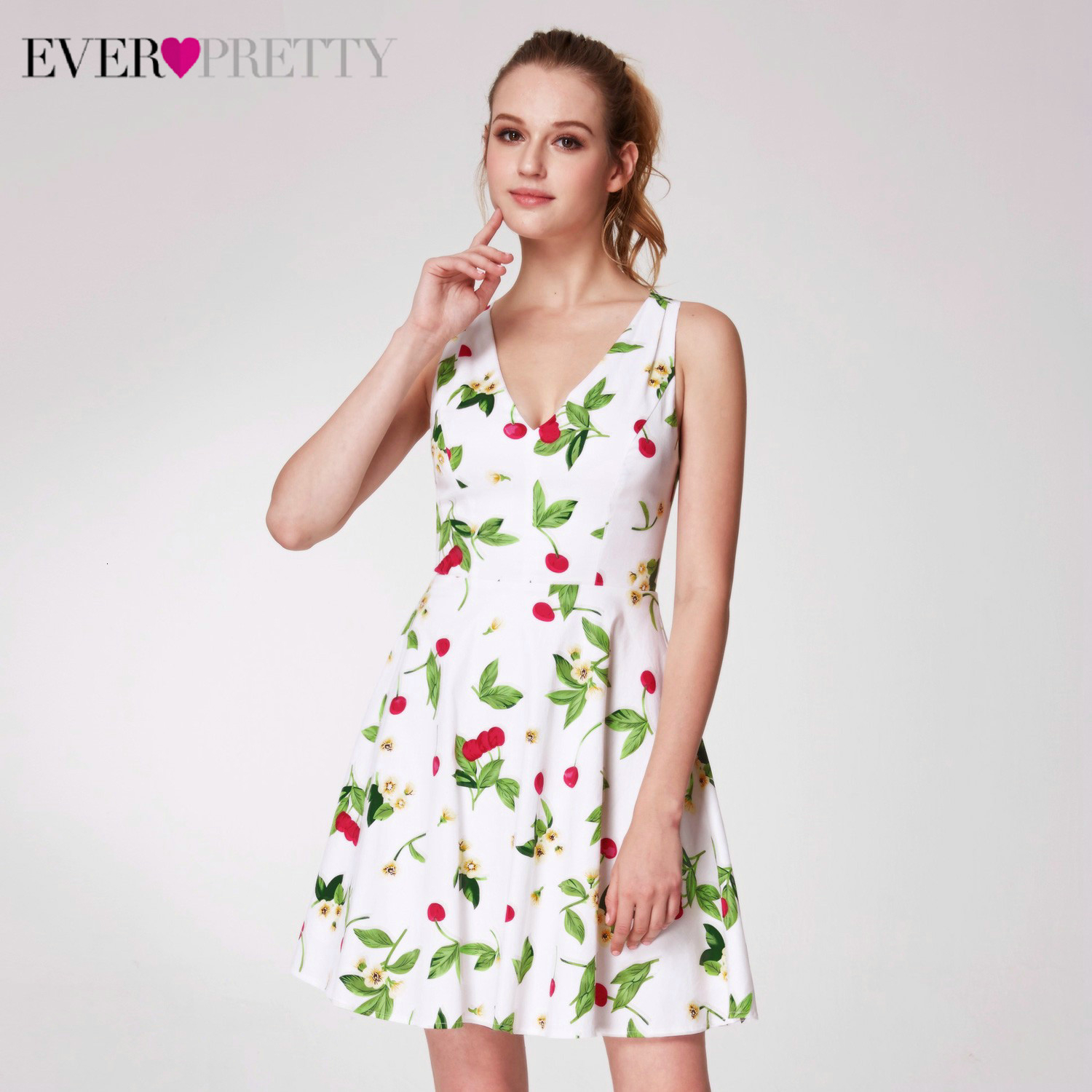 Elegant Floral Printed Homecoming Dresses Ever Pretty AS05970WH A-Line Sleeveless Short Graduation Dresses Vestidos Cortos 2020