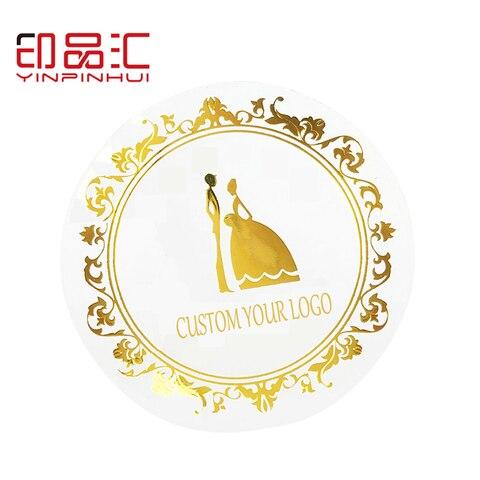 adesivos de pvc transparente adesivos personalizados de folha de ouro etiquetas personalizadas de logotipo 100