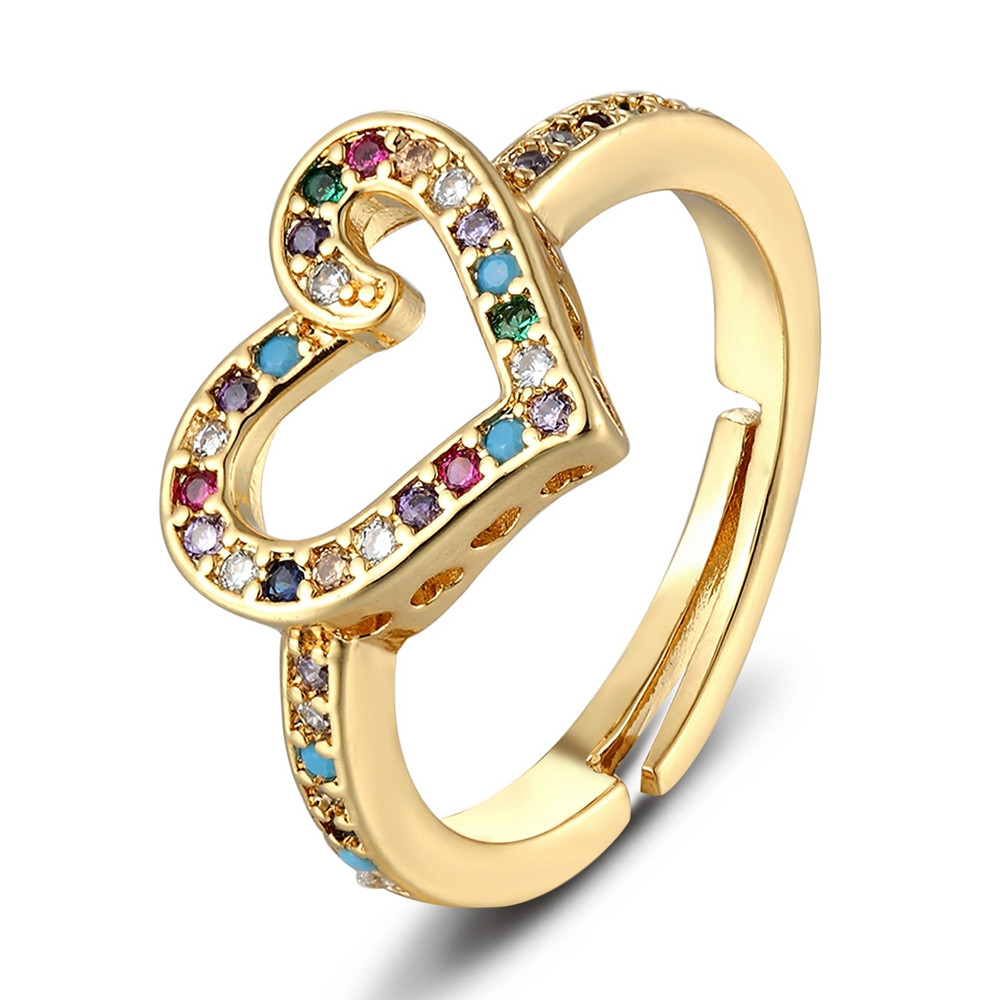2021 New Fashion 6 Styles Heart Shaped Rings For Women Gold Color Adjustable Ring Best Party Wedding Anniversary Jewelry Gift 4