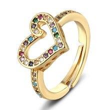 Anillo de corazón de amor romántico, 6 estilos, Color dorado, circón de cobre, ajustable, boda, fiesta, cumpleaños, regalo de joyería, 2020