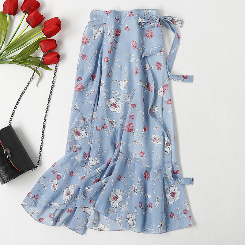 2019 New Fashion High Waist Chiffon Pleated Skirt Women Spring Summer Floral Print Midi Skirts A Line Elegant Vintage Casual