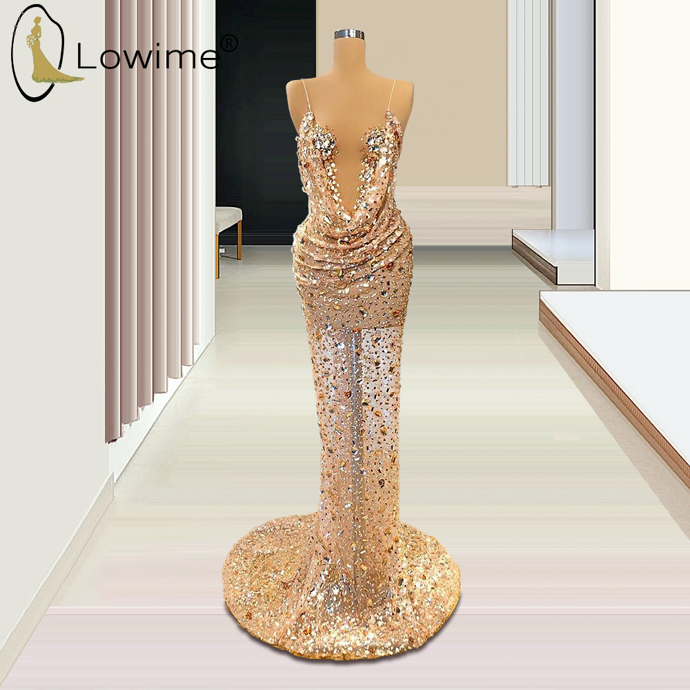 Formal Dress Sexy Pluning V Neck Evening Dresses 2020 Mermaid See Through Beaded Crystal Sweep Train Prom Party Dress