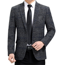 Men Suit Jackets Blazer Male Brand Costume Business Long-Sleeve Printed Casual Fashion
