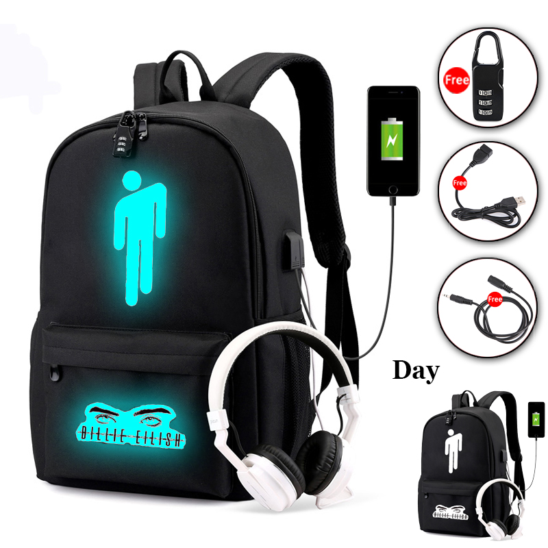 Pop Singer Billie Eilish Backpack For Teenage Boys Girls Luminous School Bag USB Charging Anti Theft Waterproof Laptop Backpack