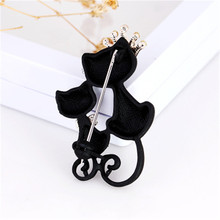1pc Mysterious and elegant black cat brooch adorn black cat brooch sweater dress accessories wing sweater guard brooch