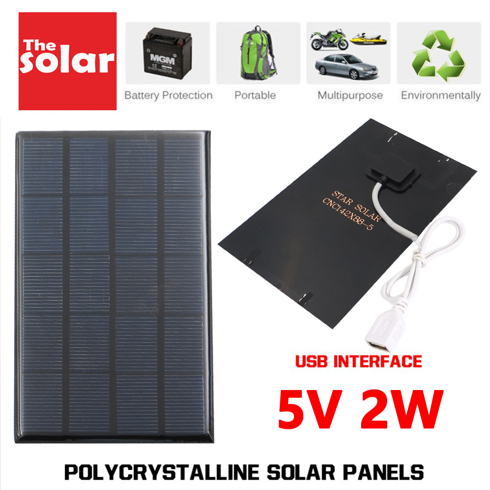 USB Solar Panel Outdoor 2W 5V Portable Solar Charger Pane Climbing Fast Charger Polysilicon Tablet Solar Generator Travel